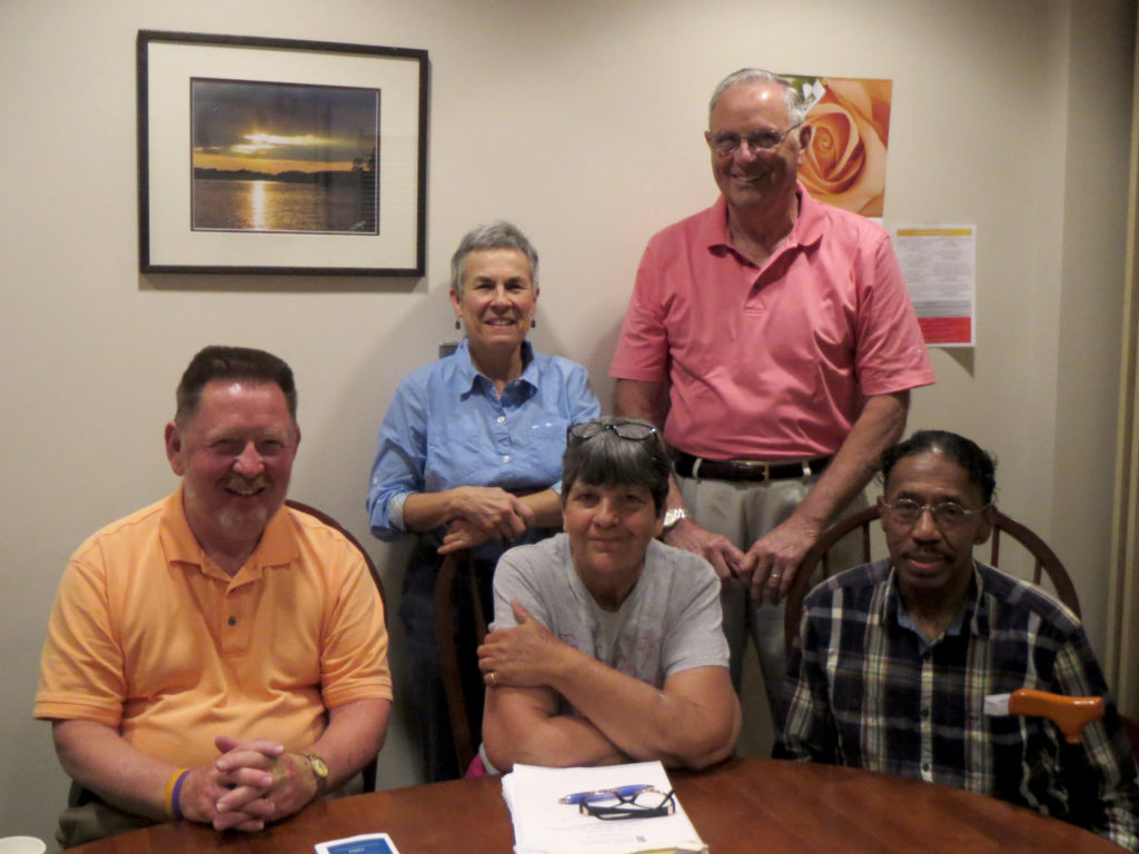 : Members of the CARES Cancer Survivors Support Group include from left to right, Bill Schrieves, Sharon Loving, LCSW-C, group facilitator, Denise McDonald, Clyde Blades and Melvin Ward.